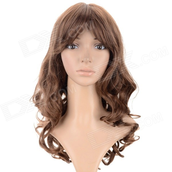 SYSH003 Fashion Tilted Frisette Long Curly Wig - Linen Yellow