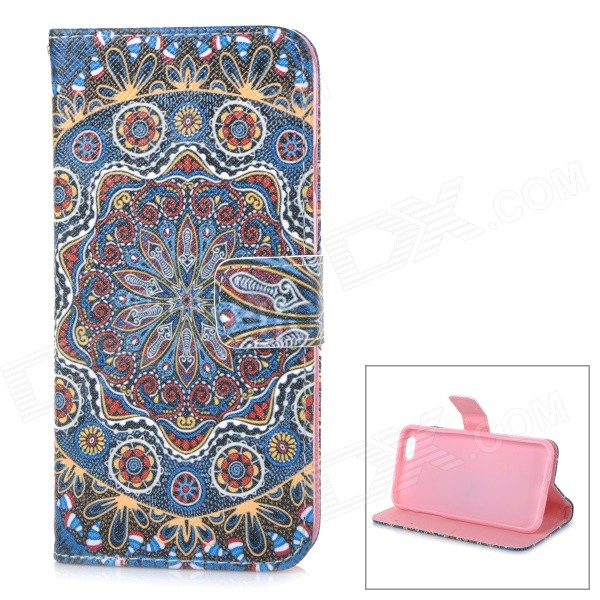 "Tribe Pattern Suojaava TPU + PU Case for iPhone 6 4,7 ""- Sininen + Monivärinen"