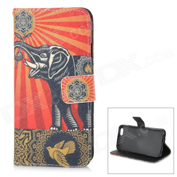 Elephant Pattern Protective TPU + PU Case for IPHONE 6 4.7 - Red + Black glossy solid color tpu jelly cover for iphone 7 4 7 inch black