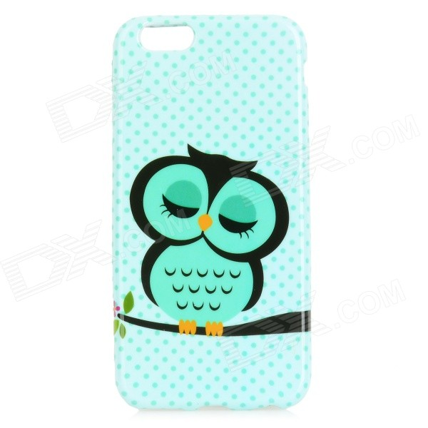 Sleep Owl Pattern Protective TPU Back Case for IPHONE 6 4.7 - Light Green + Black