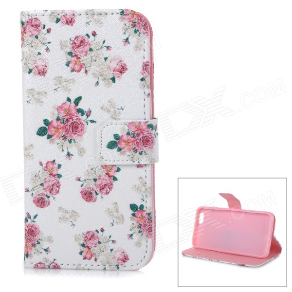 Roses Patterned Protective Flip-Open TPU + PU Leather Case for IPHONE 6 - White + Pink universal leather car armrest central store content storage box with cup holder center console armrests free shipping