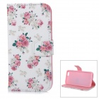 Roses Patterned Protective Flip-Open TPU + PU Leather Case for IPHONE 6 - White + Pink