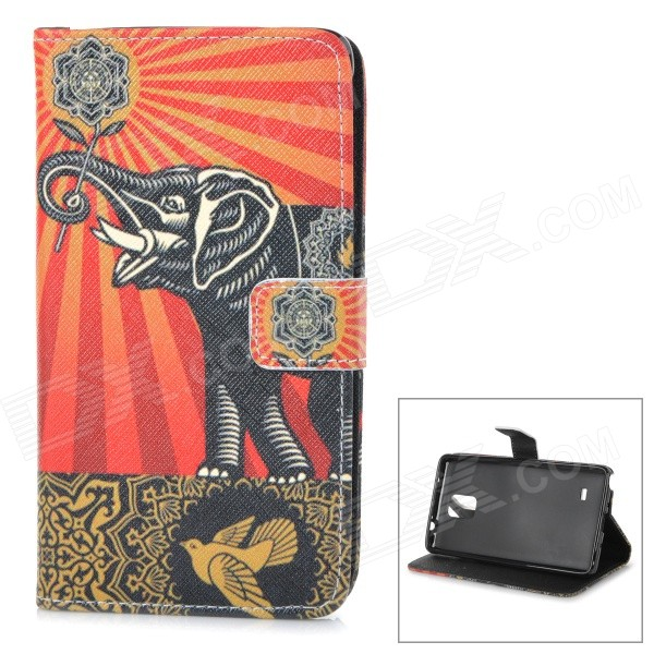 Elephant Pattern Stylish Flip Open TPU + PU Case w/ Stand for Samsung Note 4 - Red + Black stylish flip open pu leather tpu case w holder for iphone 4 4s red
