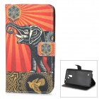 Elephant Pattern Stylish Flip Open TPU + PU Case w/ Stand for Samsung Note 4 - Red + Black