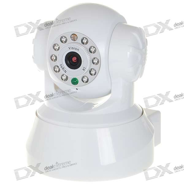 WIFI Wireless Network Surveillance Pan/Tilt IP Camera with 10-LED IR Night Vision + Microphone