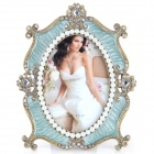 4584ABB-1 European Style Fantastic Classic Rhinestone-studded Zinc Alloy Photo Frame - Brass + Green