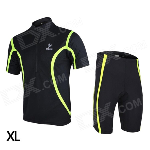 ARSUXEO 130019 Men's Breathable Quick-Dry Short Cycling Jersey Top + Pants Set - Black (XL) arsuxeo cycling short pants