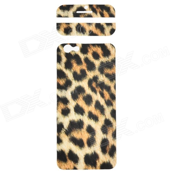 Fashion Leopard Pattern Decorative Front + Back PVC Stickers Set for IPHONE 6 4.7 - Beige + Black