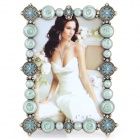 4377ABB European Style Fantastic Classic Rhinestone-studded Zinc Alloy Photo Frame - Brass + Blue