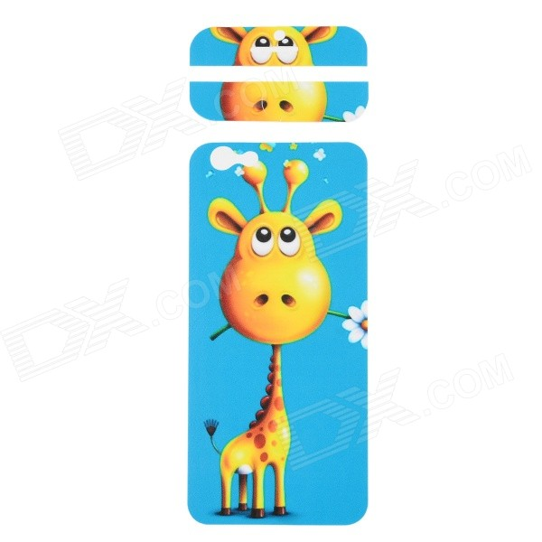 Fashion Giraffe Pattern Decorative Front + Back PVC Stickers Set for IPHONE 6 4.7 - Blue + Yellow