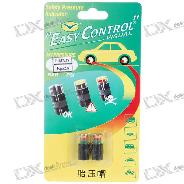 Digital Tire Pressure Realtime Warning Air Valve Indicators - Kpa2.8 (2-Pack)