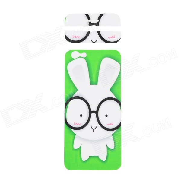 Fashion Rabbit Pattern Decorative Front + Back PVC Stickers Set for IPHONE 6 4.7 - Green + White