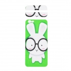 "Fashion Rabbit Pattern Decorative Front + Back PVC Stickers Set for IPHONE 6 4.7"" - Green + White"