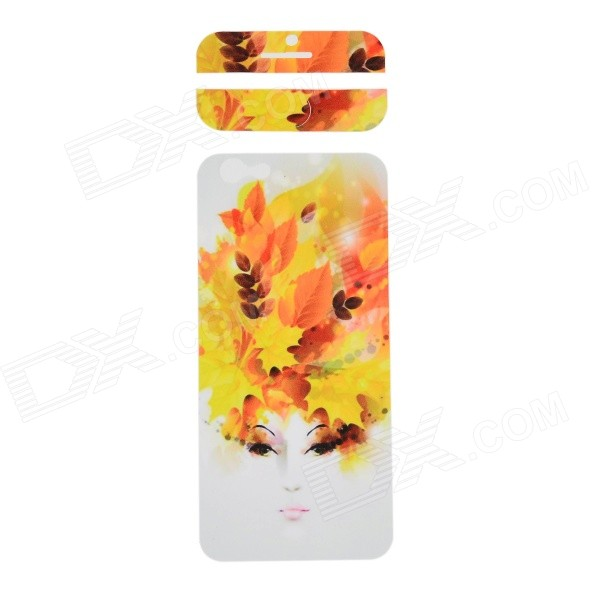 Fashion Lady Pattern Decorative Front + Back PVC Stickers Set for IPHONE 6 4.7 - Yellow + White