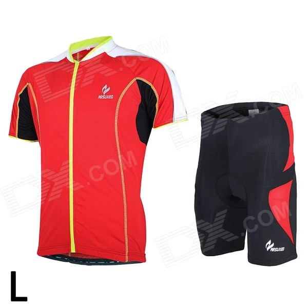 ARSUXEO 668 / 535 Men's Breathable Quick-Dry Short Cycling Jersey Top + Pants Set - Red + Black (L) arsuxeo ar14 a men s cycling breathable warm long jersey top padded pants set black blue xl