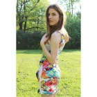 Fashionable Flower Pattern Sleeveless Round Neck Slim Dress - White + Pink + Multi-Color (M)