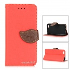 DULISIMAI Leaf Lichee Patterned Flip-Open PC + PU Leather Case w/ Stand for IPHONE 6 - Red + Brown