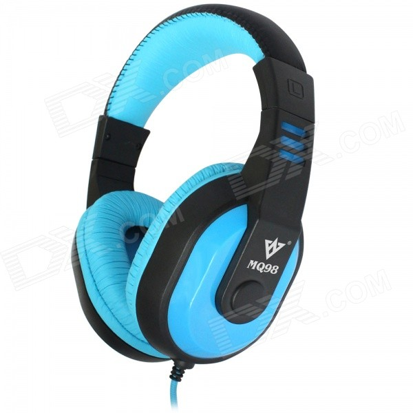 VYKON MQ98 3.5mm Jack Wired Foldaway Stereo Headphone for IPHONE / IPAD / IPOD + More - Blue + Black