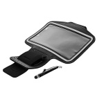 DULISIMAI Waterproof Nylon Armband for Samsung Note 4 - Black + Grey