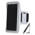 DULISIMAI Water Resistant Protective Nylon Armband for Samsung Galaxy Note 4 - White + Grey