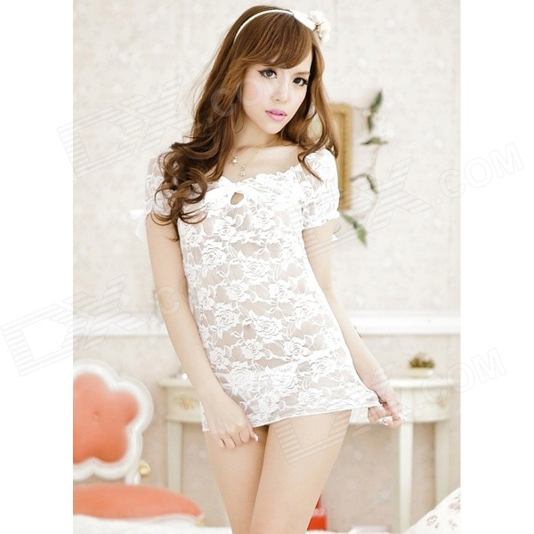 Sexy Lingerie Boat-Neck See-Through Lace Sleeping Dress w/ T-Back - White