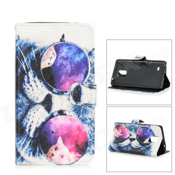 Cool Cat Pattern Flip Open PU + TPU Case for Samsung Note 4 - White + Blue + Multi-Color large 24x24 cm simulation white cat with yellow head cat model lifelike big head squatting cat model decoration t187