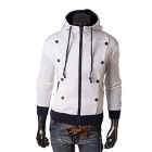 Men's Fashionable Simple Long Sleeves Zipper Hoody Fleeces Top - White + Black (L)