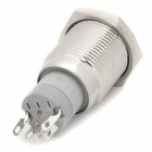 16mm 24V 3A Stainless Steel Self-lock Button Switch w/ Blue Light LED - Silver