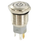 16mm 24V 3A Stainless Steel Reset Button Switch w/ Red Light LED - Silver