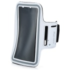 Trendy Dual-Hole Velcro Nylon + PVC Sports Armband for IPHONE 6 PLUS - White (25cm)