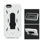 "3-in-1 Anticollision Protective Plastic + Silicone Case w/ Holder for IPHONE 6 4.7"" - White + Black"