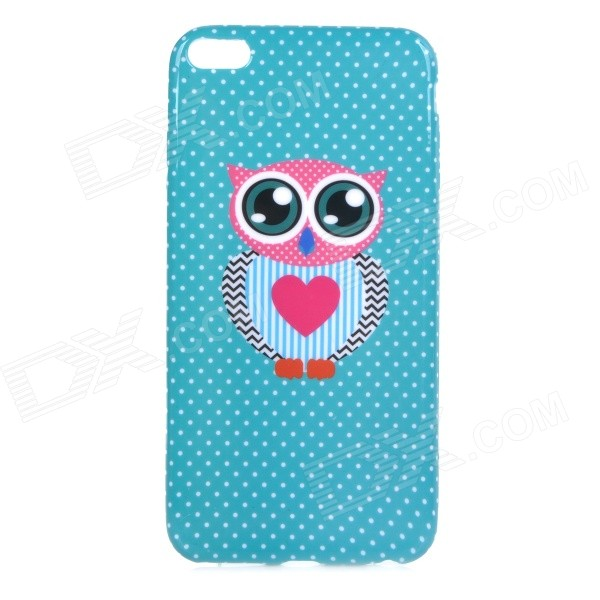 Stylish Owl Patterned Protective TPU Back Case Cover for IPHONE 6 PLUS 5.5 - Blue-Green + Deep Pink tpu imd patterned gel cover for iphone 7 4 7 inch dream catcher