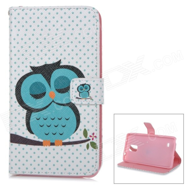 Owl Pattern Stylish Flip Open PU + TPU Case for Samsung Note 4 - White + Green + Multi-Color cool cat pattern flip open pu tpu case for samsung note 4 white blue multi color