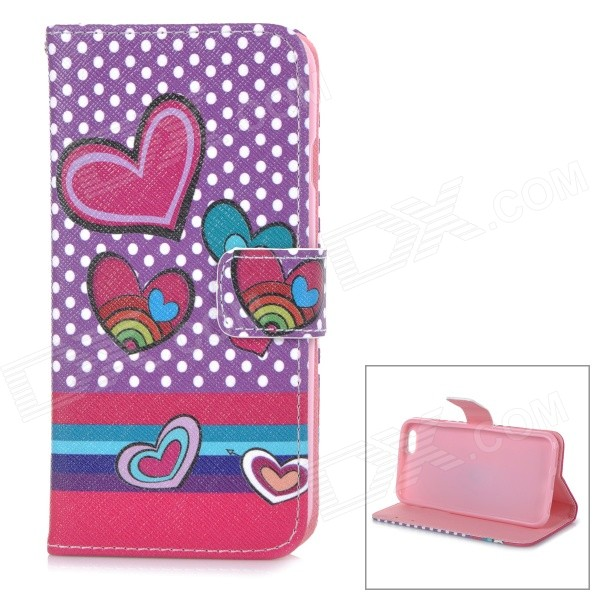 Heart Patterned Protective Flip-Open TPU + PU Case w/ Stand + Card Slot for IPHONE 6 4.7 - Purple protective flip open pu pc case w stand card slot for iphone 6 plus 5 5 pink