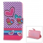 "Heart Patterned Protective Flip-Open TPU + PU Case w/ Stand + Card Slot for IPHONE 6 4.7"" - Purple"