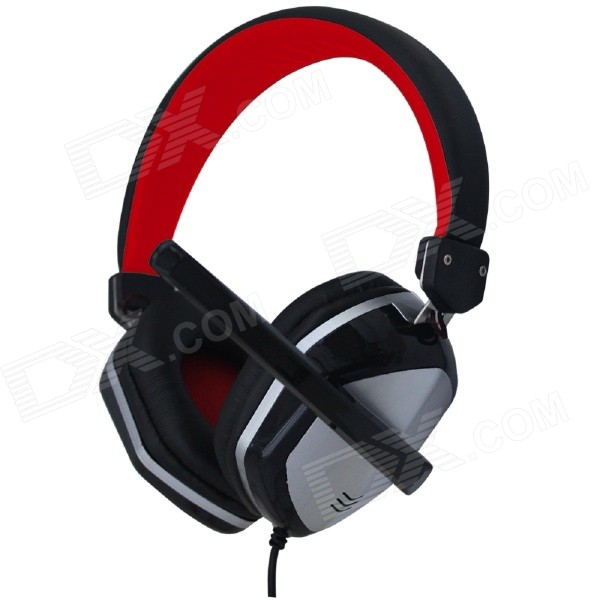 VYKON ME888 Multifunctional USB 2.0 Wired Headband Headphone w/ Microphone - Black + Silver + Red vykon me777 usb computer headphone w microphone black red