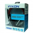 VYKON ME888 Multifunctional USB 2.0 Wired Headband Headphone w/ Microphone - Black + Silver + Red
