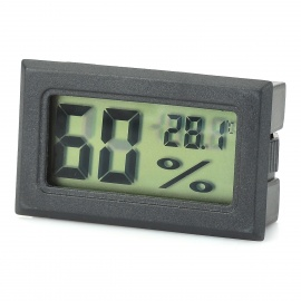 """1.5"""" LCD Temperature / Humidity Measuring Thermometer / Hygrometer - Black (2 x LR44)"""