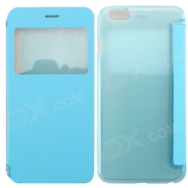 MO.MAT Ultrathin Flip Open PC + PU Case w/ Display Window for IPHONE 6 PLUS 5.5 - Blue mo mat ultrathin flip open pc case w display window for iphone 6 plus 5 5 blue