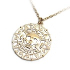 Stylish Round Golden Skull Pendant Necklace - Golden