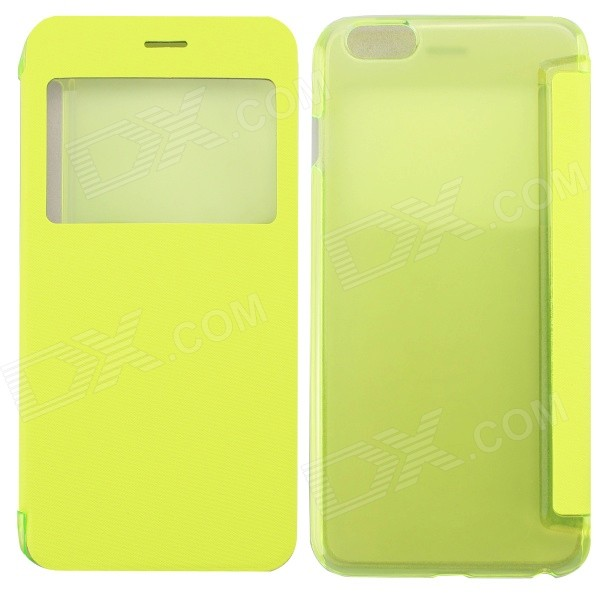 Ultrathin Flip Open PC + PU Case w/ Display Window for IPHONE 6 PLUS - Fluorescent Green mo mat ultrathin flip open pc case w display window for iphone 6 plus 5 5 blue