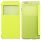 Ultrathin Flip Open PC + PU Case w/ Display Window for IPHONE 6 PLUS - Fluorescent Green