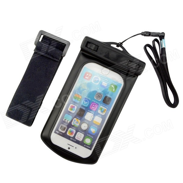 ZCHW Waterproof Protective Bag Pouch w/ Strap + Arm Band for IPHONE 6 4.7 - Black universal waterproof bag protective mobile phone bag w arm band strap orange black