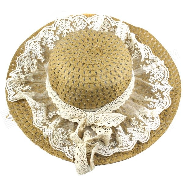 Stylish Sweet Lace Detailed Straw Hat Sunhat - Khaki stetson men s breakers premium shantung straw hat