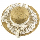 Stylish Sweet Lace Detailed Straw Hat Sunhat - Khaki