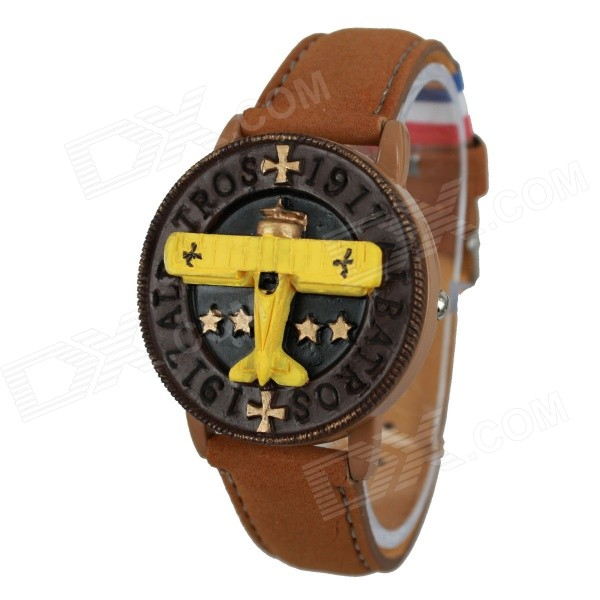 Women's Plane Style PU Leather Band Quartz Wrist Watch - Brown (1 x 377)