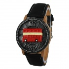 Women 's Bus Style PU Leather Band Quartz Wrist Watch - Black