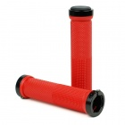 Aluminum Alloy + Rubber Bike Bicycle Handlebar Grip Covers - Red (2pcs)