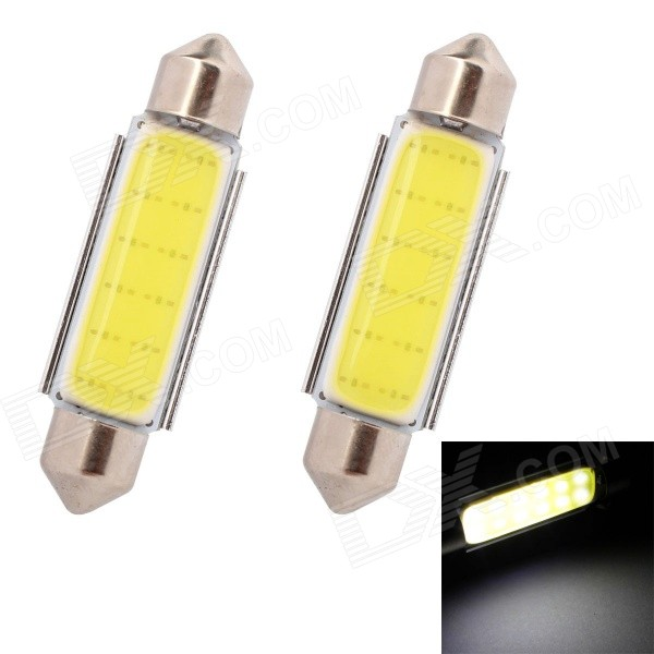 MZ Festoon 42mm 3W 100lm COB White LED Car Reading / License Plate / Roof Light Lamp (12V / 2 PCS)