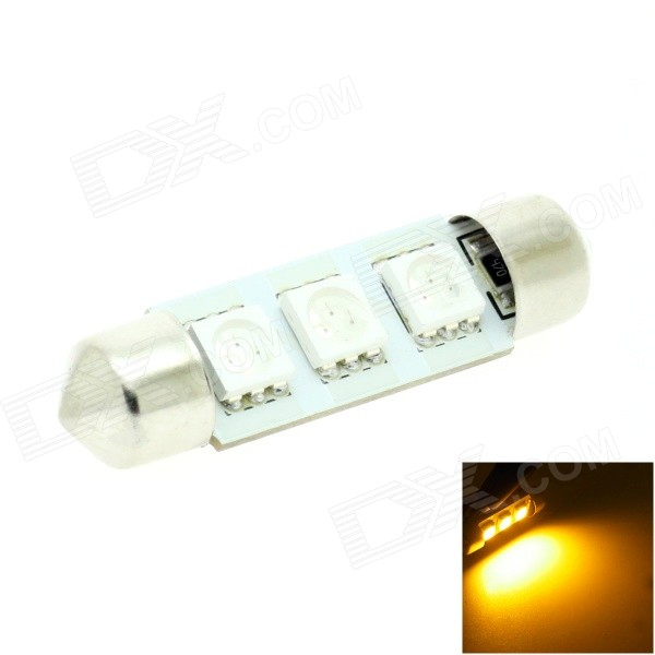 HONSCO Festoon 39mm 1W 30lm 590nm Yellow Light 5050 SMD LED Car Reading / Roof Lamp - White (DC 12V)